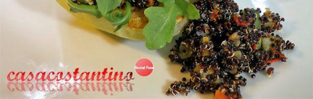 Barchetta di chayote con quinoa nera