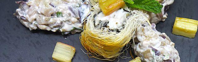 Ombrina in pasta kataifi con melanzane allo yogurt al profumo di rabarbaro