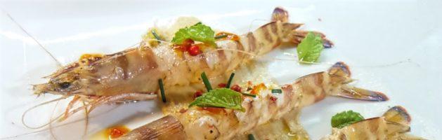 Mazzancolle marinate con confettura di peperoni piccante